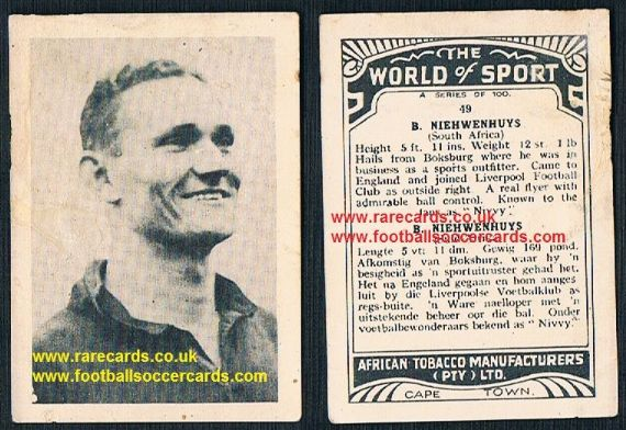 1930's South African Tobacco Cape Town World of Sport Nivvy Liverpool 49